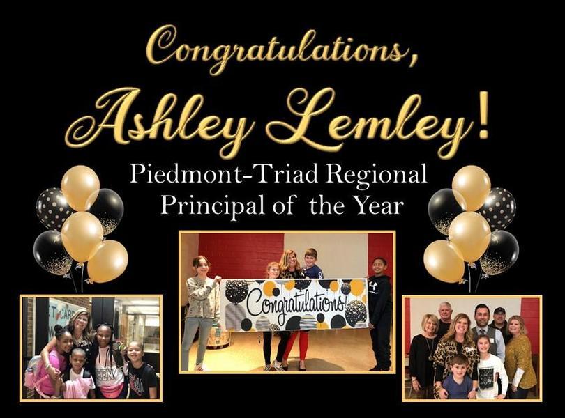 Congratulations, Ashley Lemley!  Piedmont-Triad Regional Principal of the Year