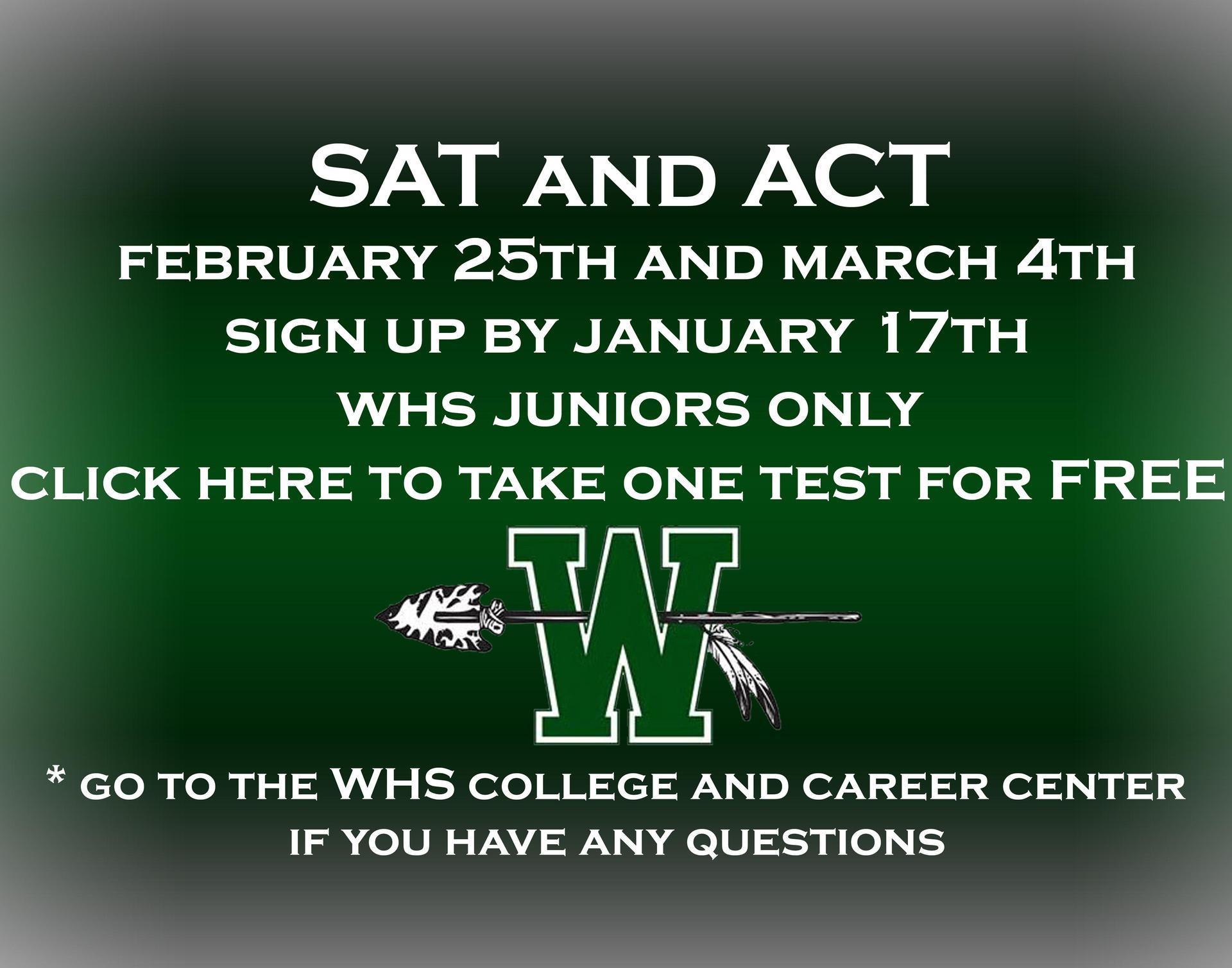 SAT & ACT registration January 17