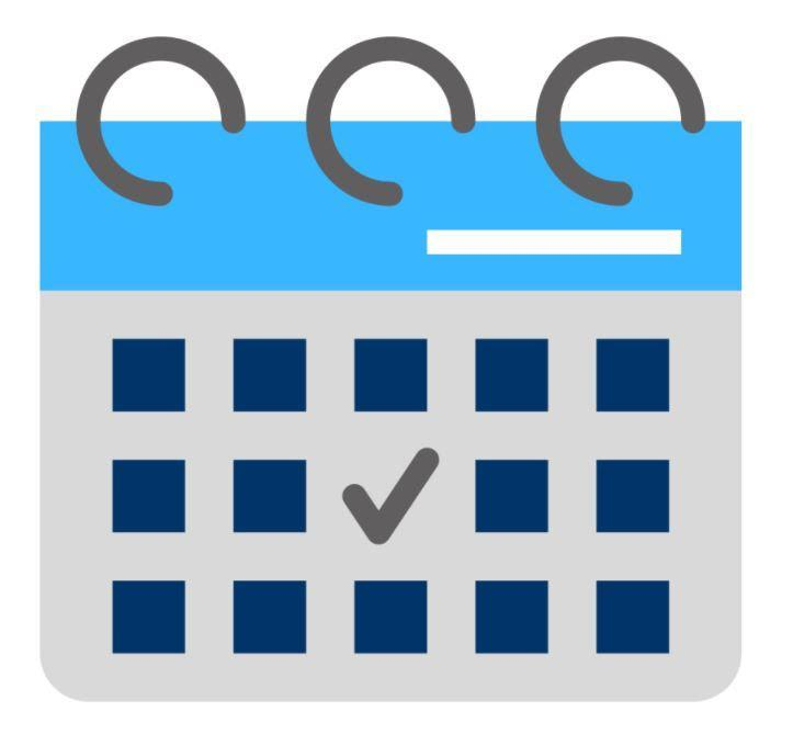 Navy blue, grey, and blue calendar with a check mark on one of the calendar days