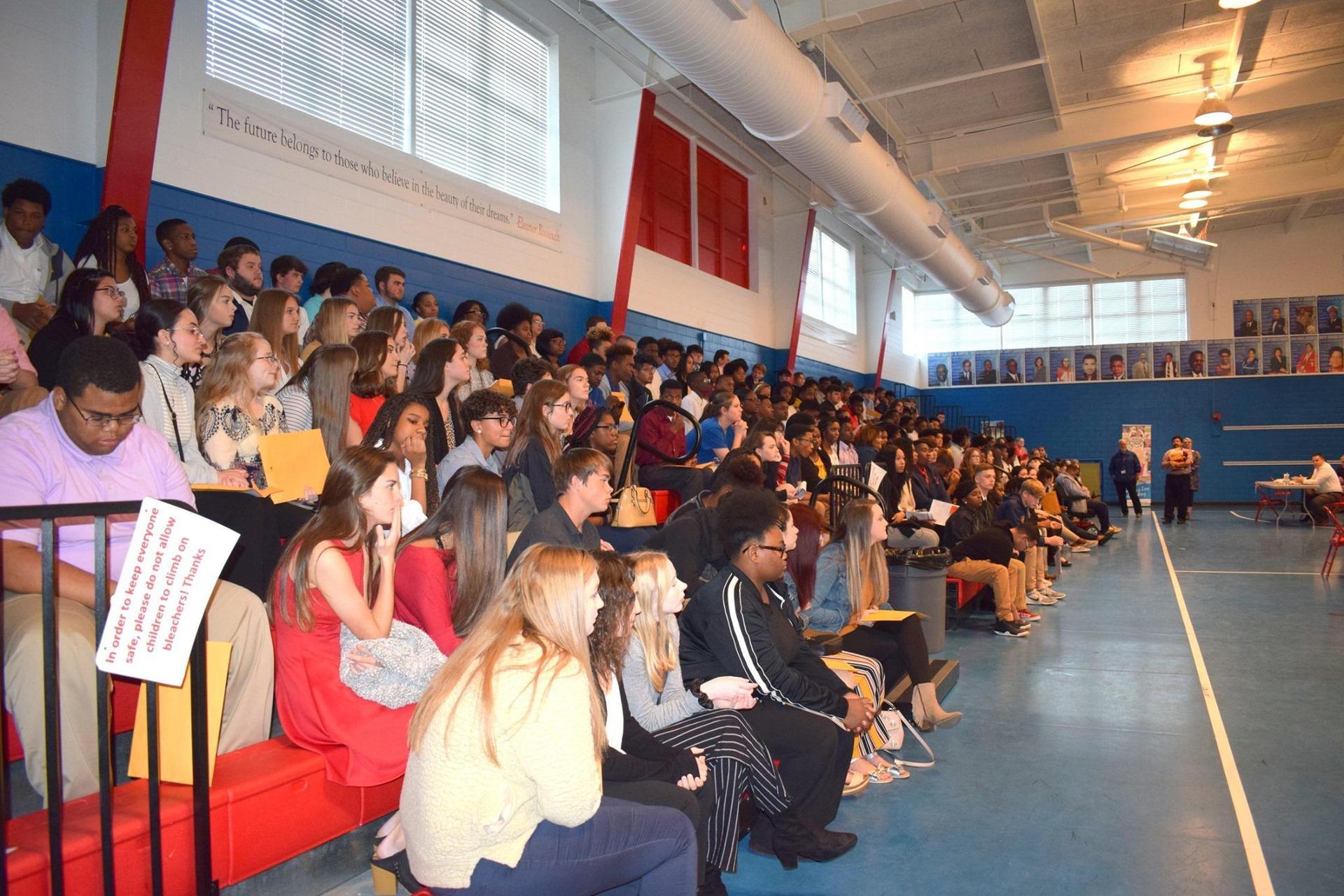 students in bleachers