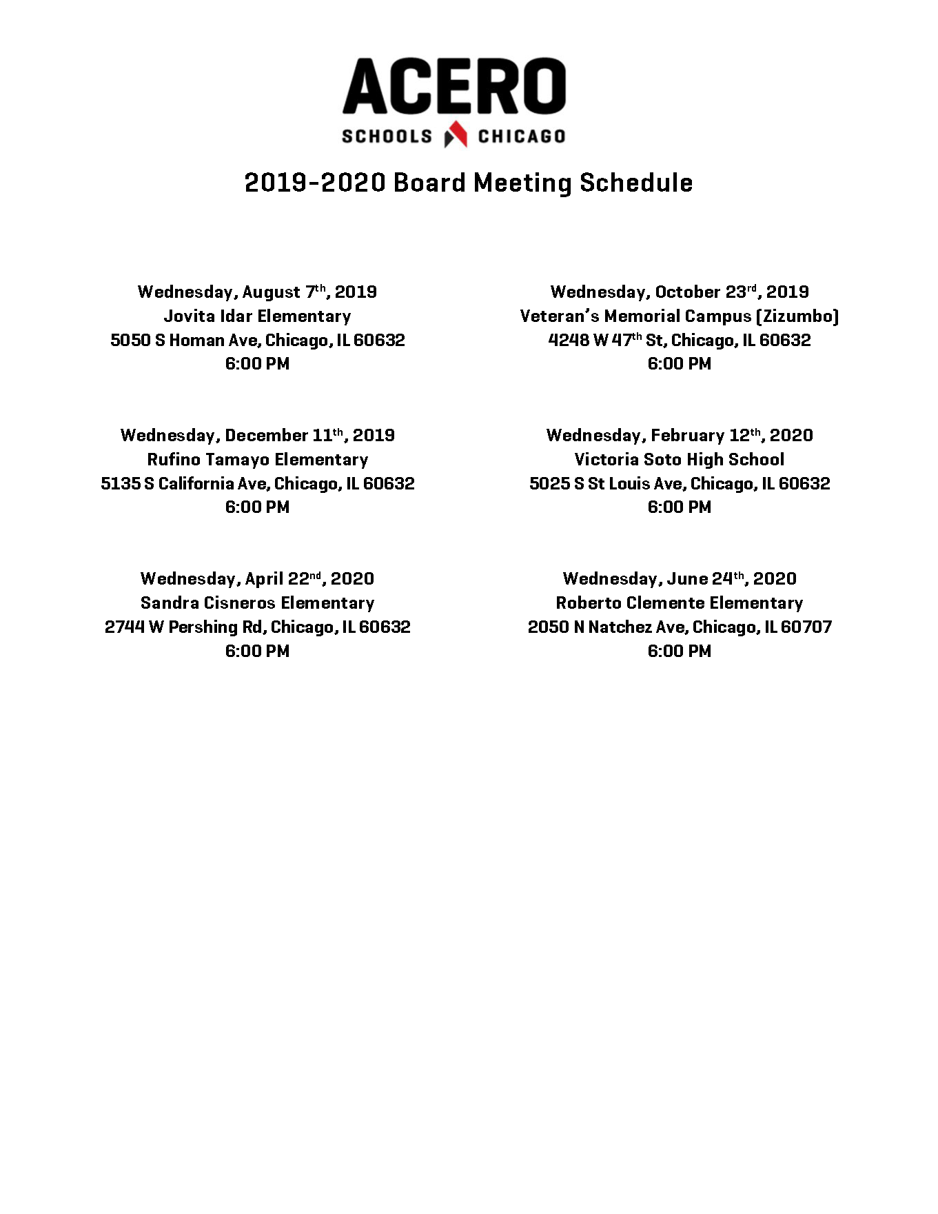 Board Meeting Dates