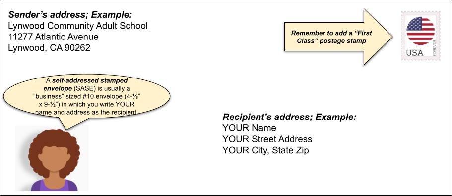 Self addressed stamped envelope