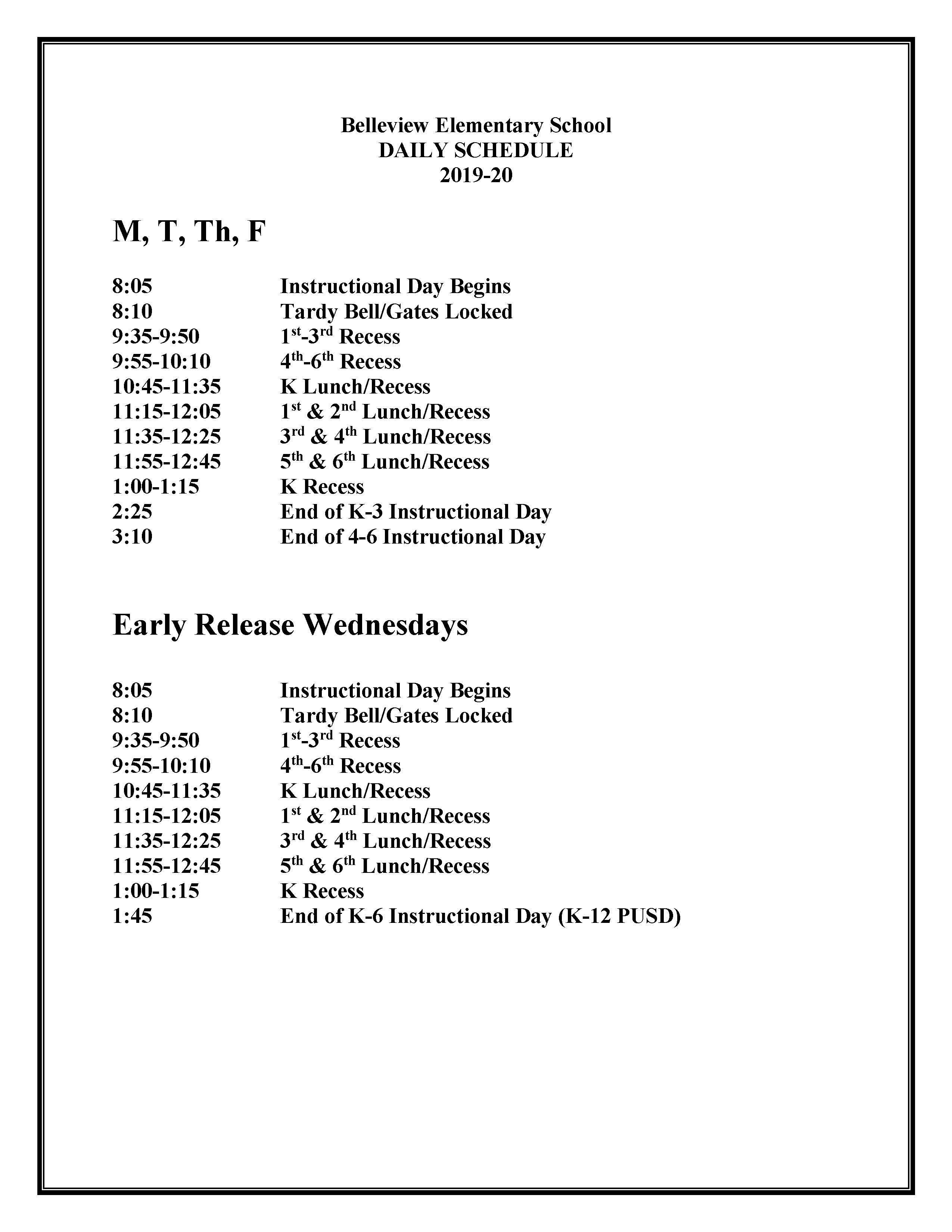 Belleview Elementary Bell Schedule
