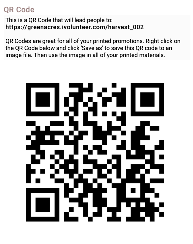 QR Code for volunteering for Harvest Festival