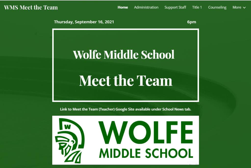 Meet the Team (Teacher) Night