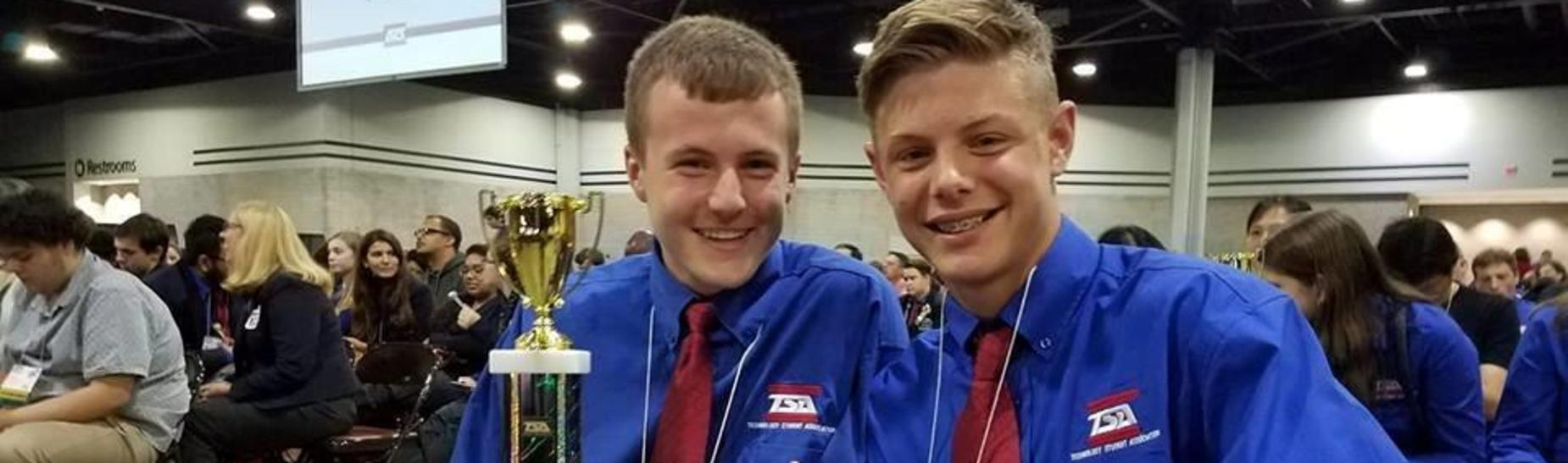 Cayden Wright and Parker Gregg take 1st place at TSA Nationals.  Congratulations!