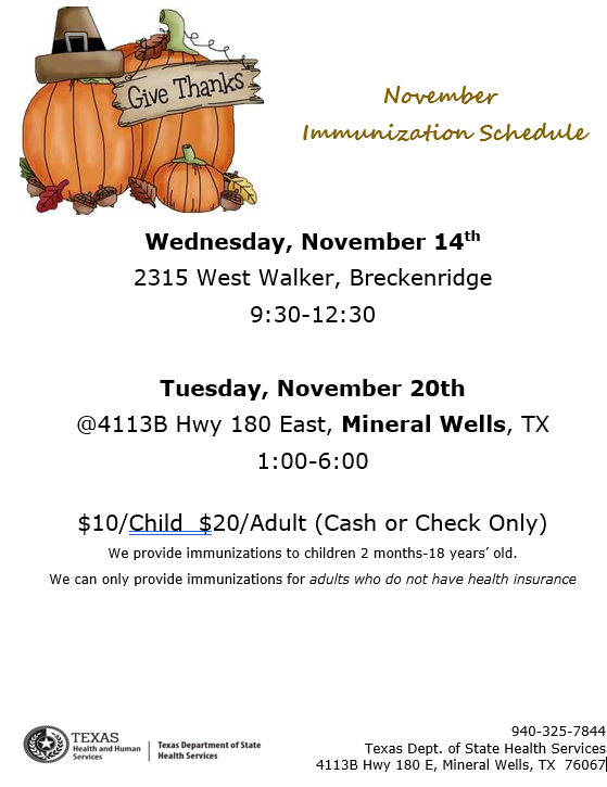 A flyer that contains immunization clinic dates, times and locations for the month of November.