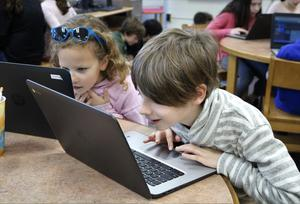 Washington School 3rd graders enjoy coding and programming during Hour of the Code activities on Dec. 5.