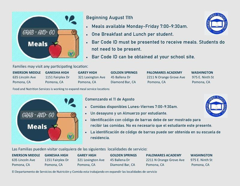 Grab N Go Meal Schedule.  Daily, 7:30 - 8:30 am.  Free to all K -12 PUSD students.  Must present bar code.