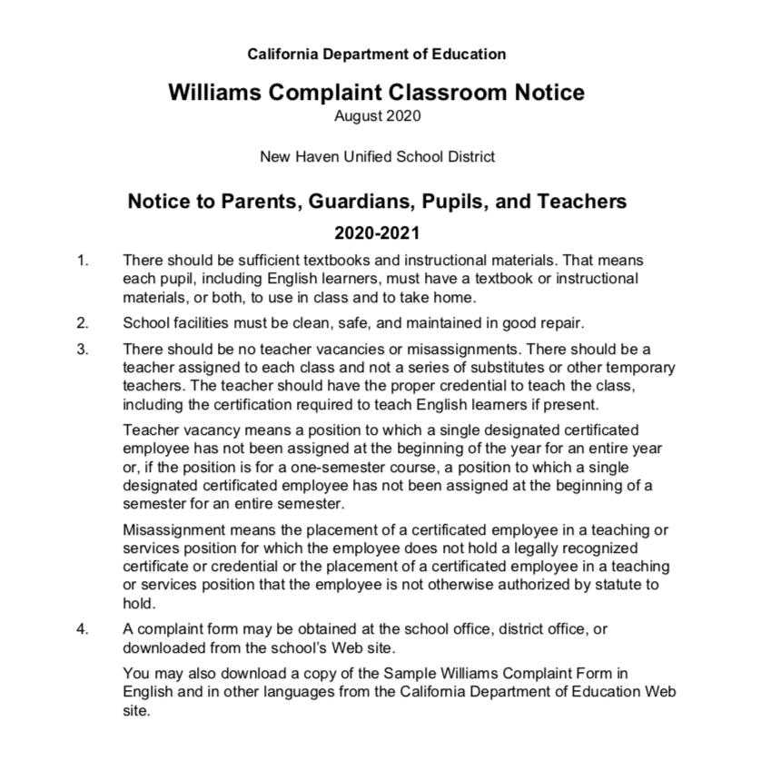 William Complaint Classroom Notice