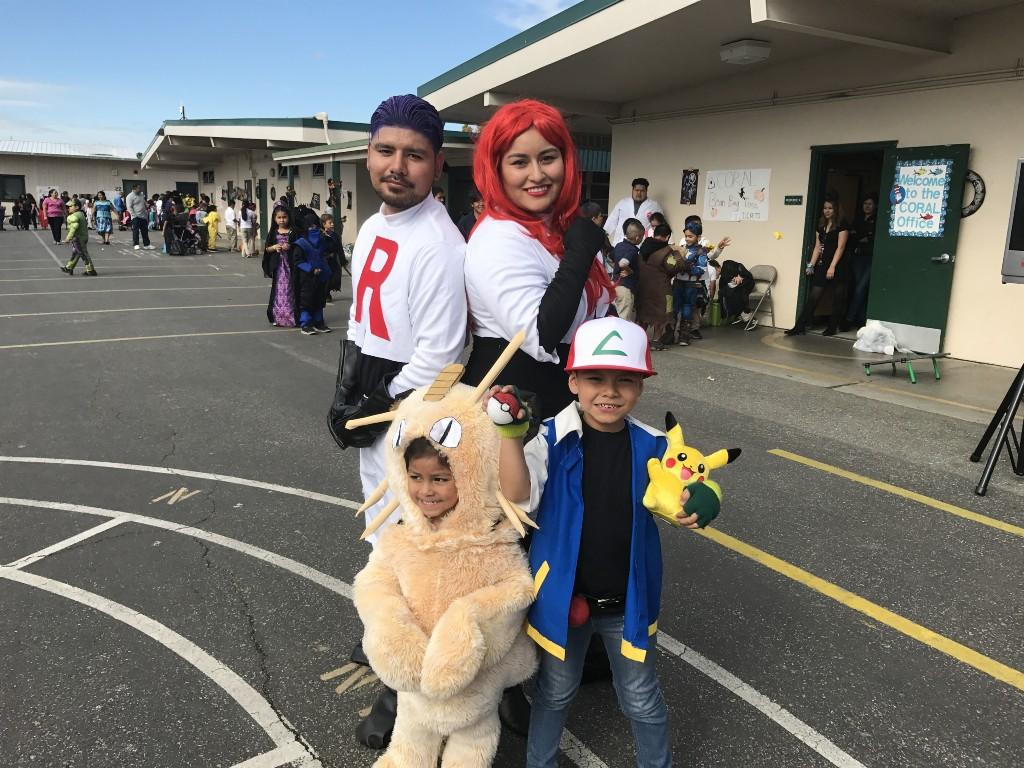 Family dressed up as Pokemon characters