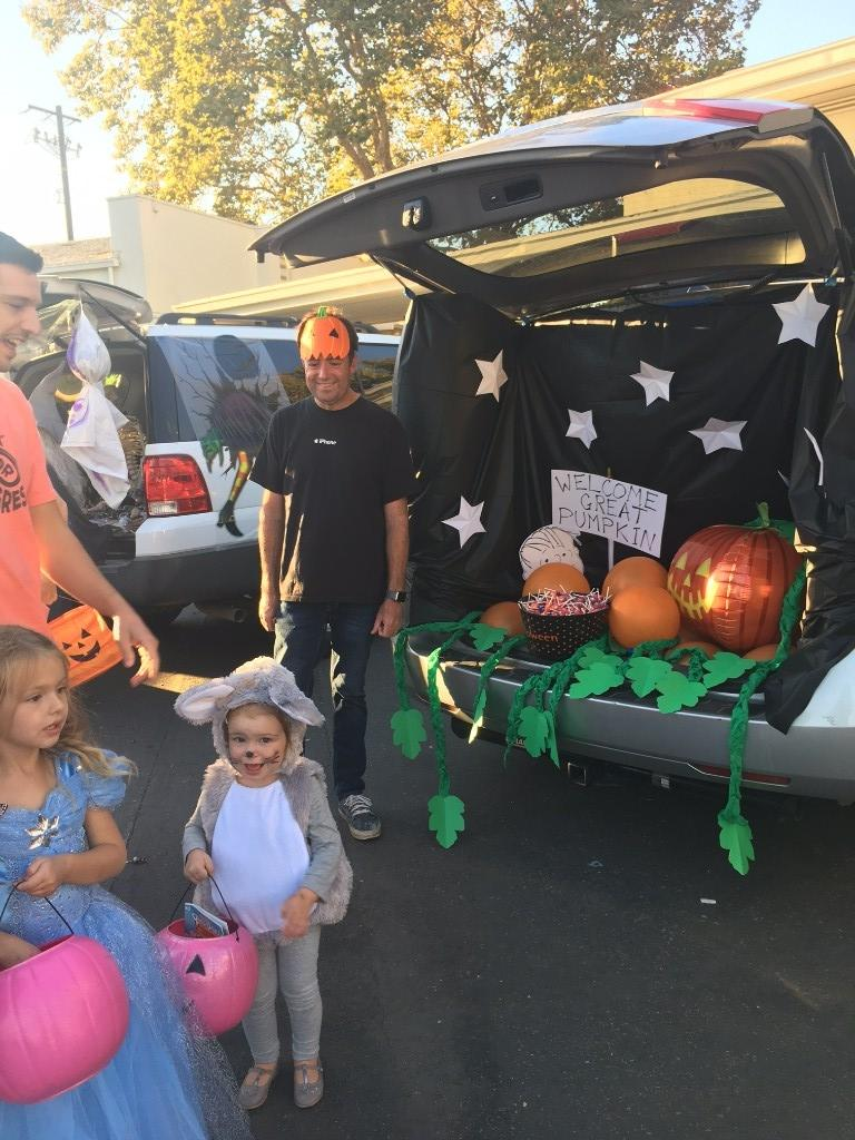 Charlie Brown Great Pumpkin themed trunk