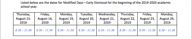 Kindergarten Modified Schedule (Early Dismissal) Featured Photo