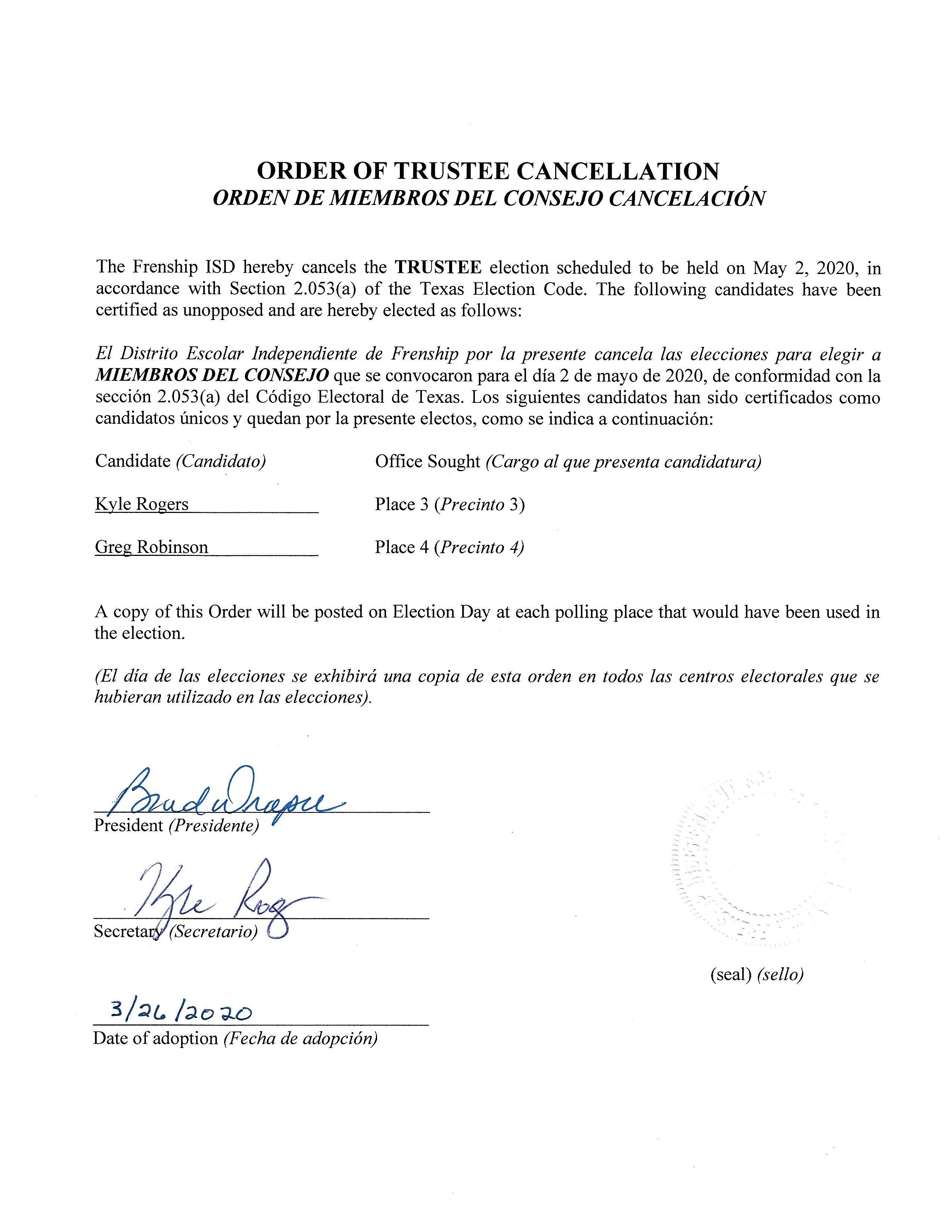 Cancellation Order of May 2, 2020 Trustee Election