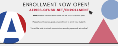 Enrollment now open! Head to aeries.gfusd.net/enrollment in order to enroll new students for the new school year! Submit all paperwork online