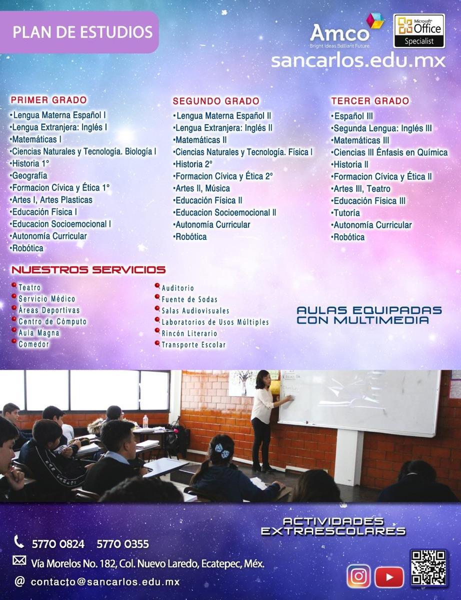 Plan de estudios Secundaria Colegio San Carlos