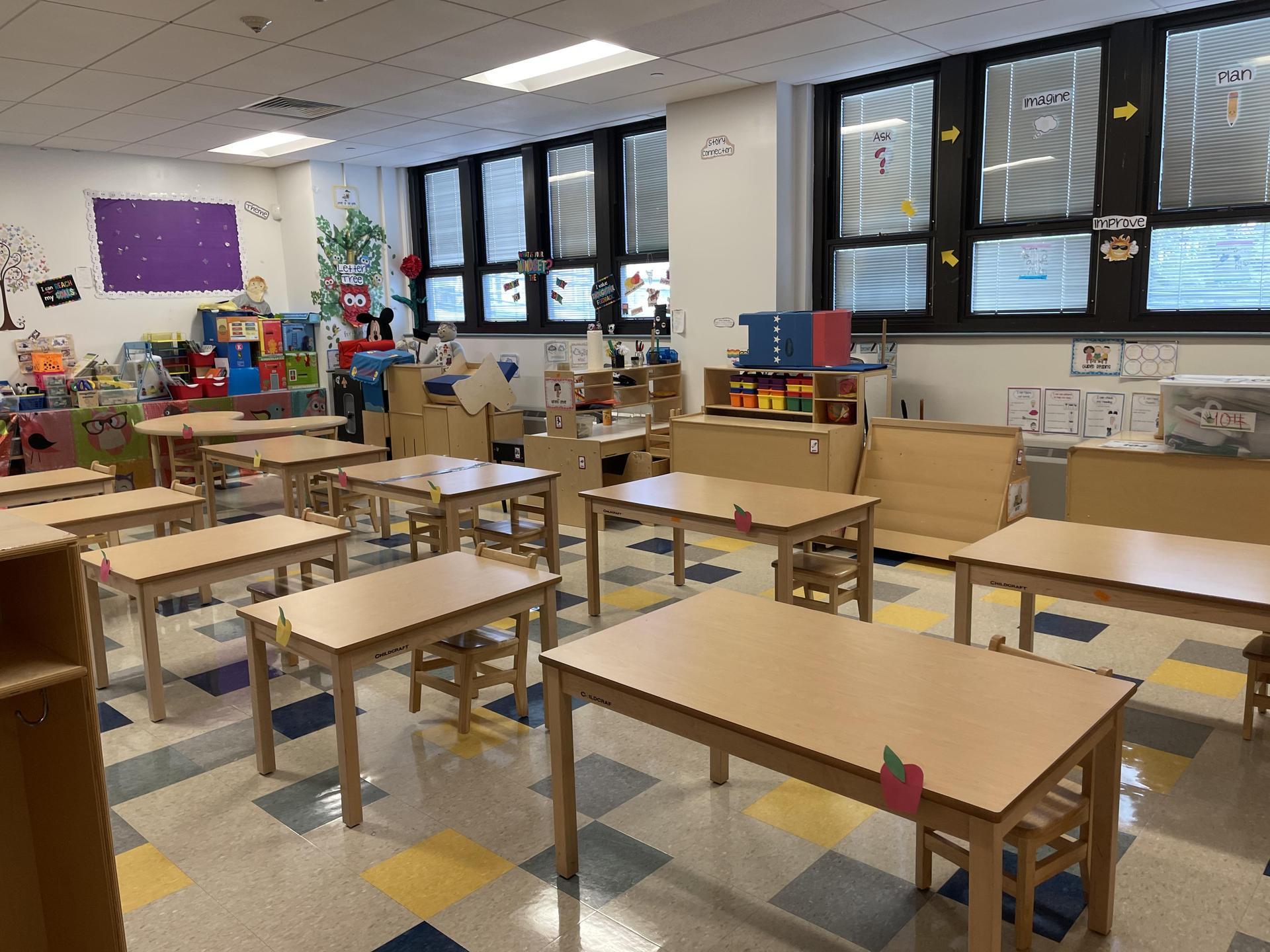 Distanced desks in classroom