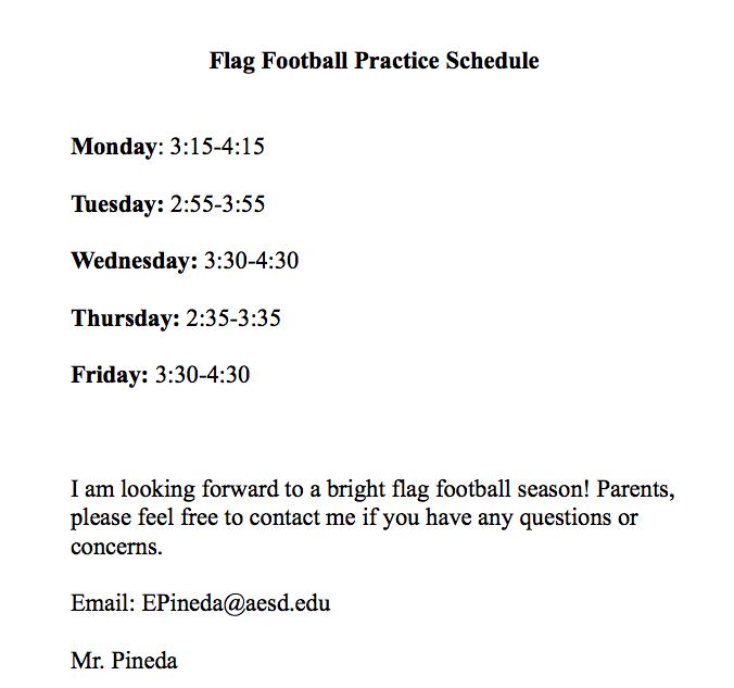 Coed Football Schedule