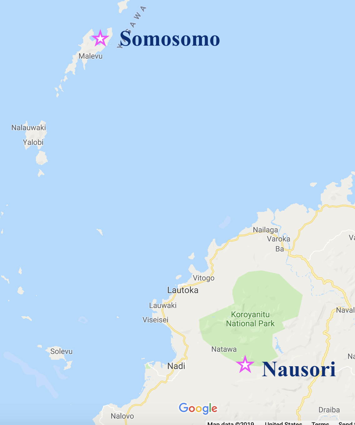 Map of Fiji highlighting nausori and somosomo