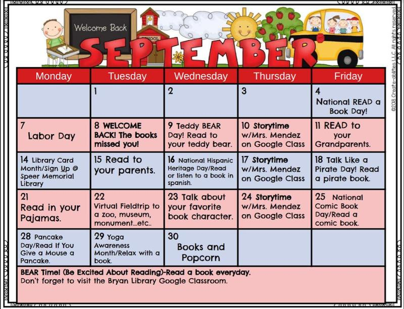 Bryan Elementary September Calendar Featured Photo