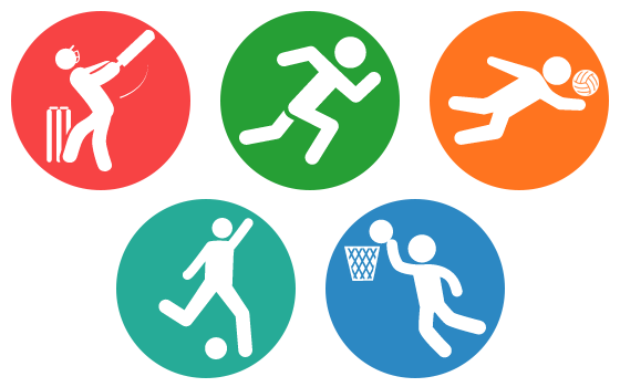 logos of various intramural activities including basketball, volleyball and running