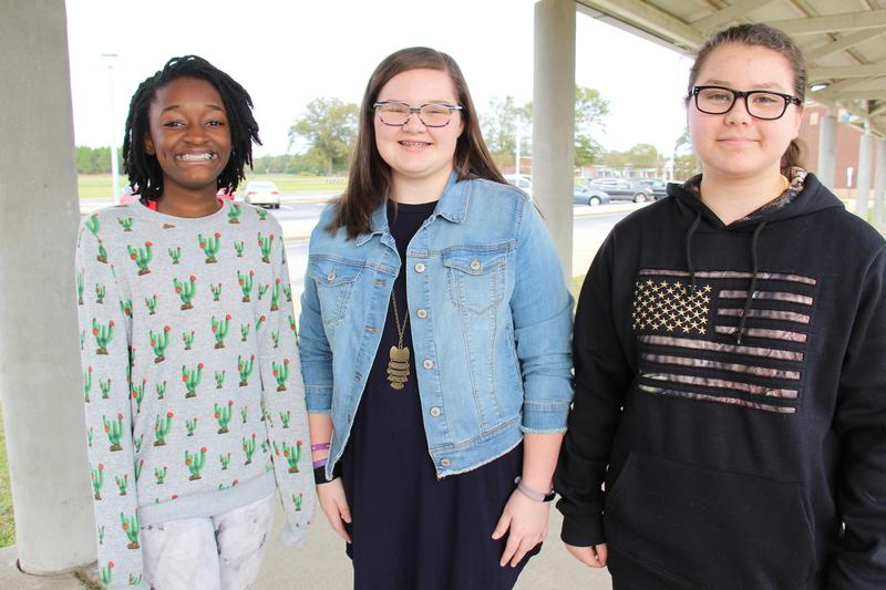 Pictured from left to right are the 2019 VFW essay winners from B-L Middle School--Jade Bovain (first place), Raimee Davis (second place) and Catalina Cruz (third place).
