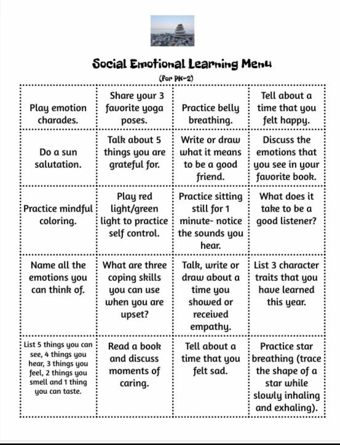 Social Emotional Learning Menu