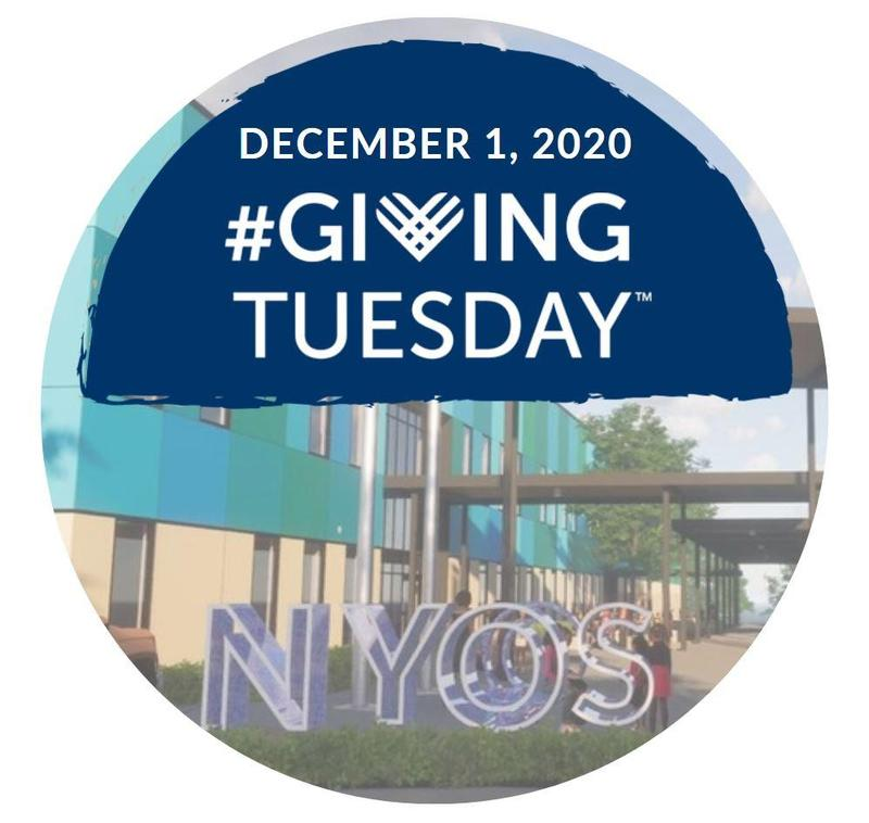 Image of NYOS Charter School's new campus, which is being built. About the picture of the new campus are the words #GivingTuesday and December 1st.