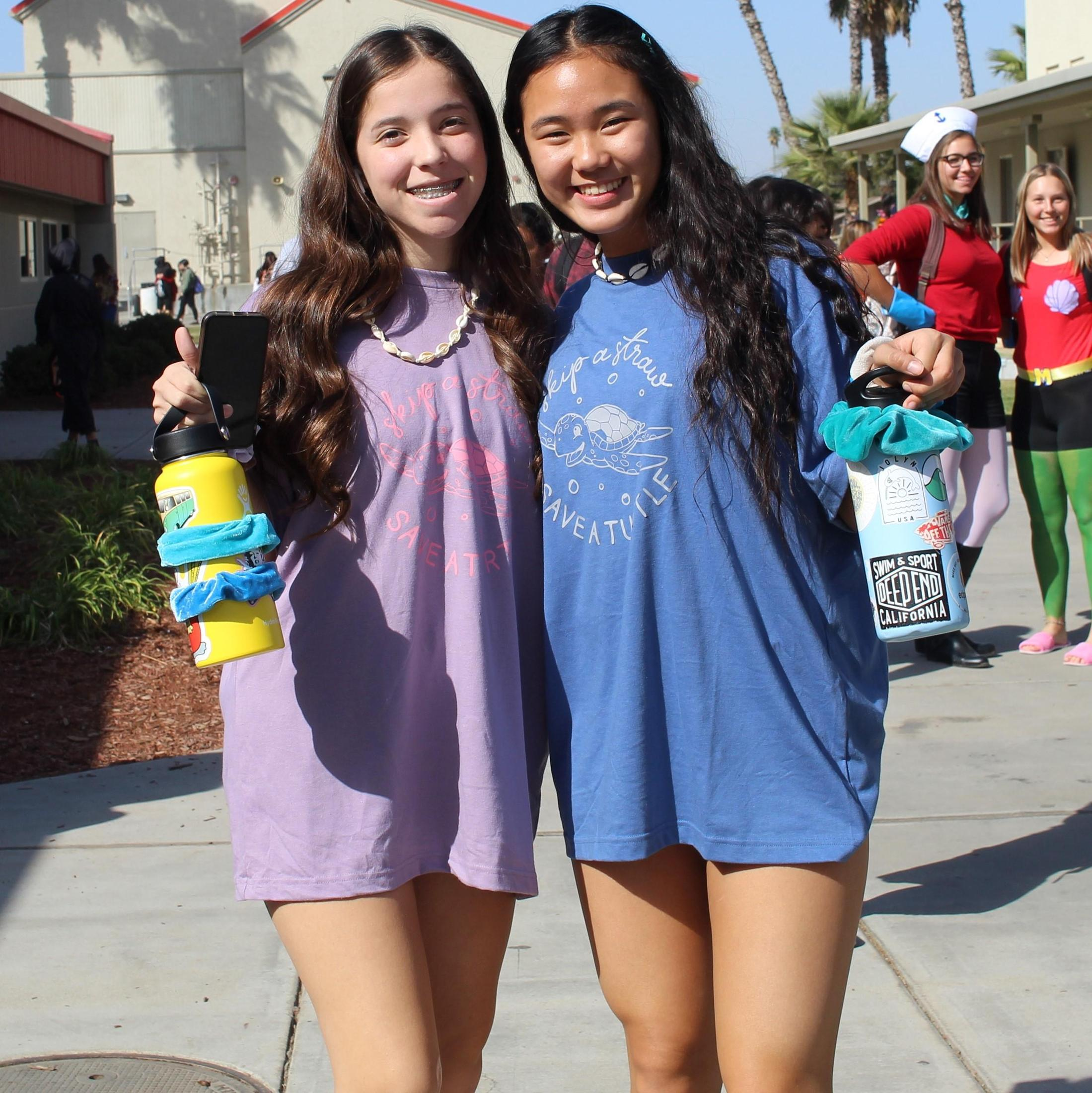 Andrea Carranza and Hahna Song dressed as V.S.C.O. girls, Kaely Sabin and Sierra Calvert dressed as spongebob characters