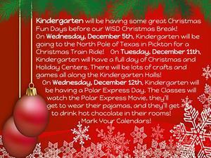 Kindergarten Xmas Fun Days in December 2018