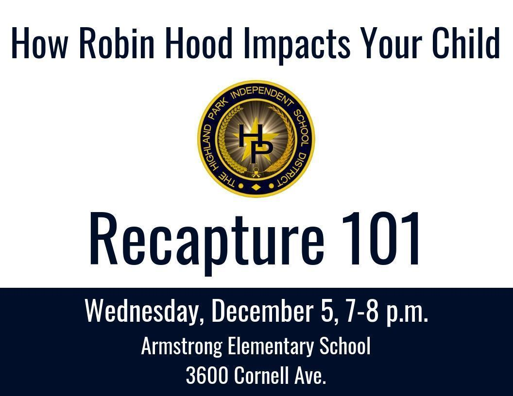 HPISD Recapture forum graphic with date and time