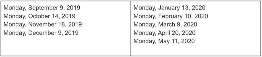 Schedule of Meetings