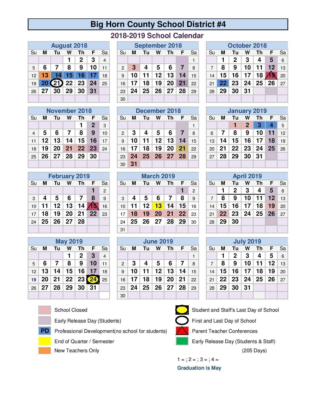 2018 2019 School Calendar