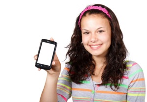 girl holding cell phone