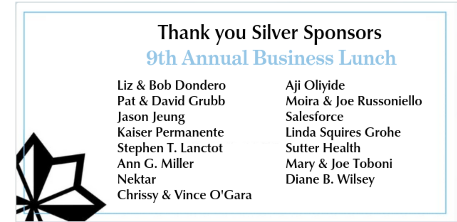 Silver sponsor list