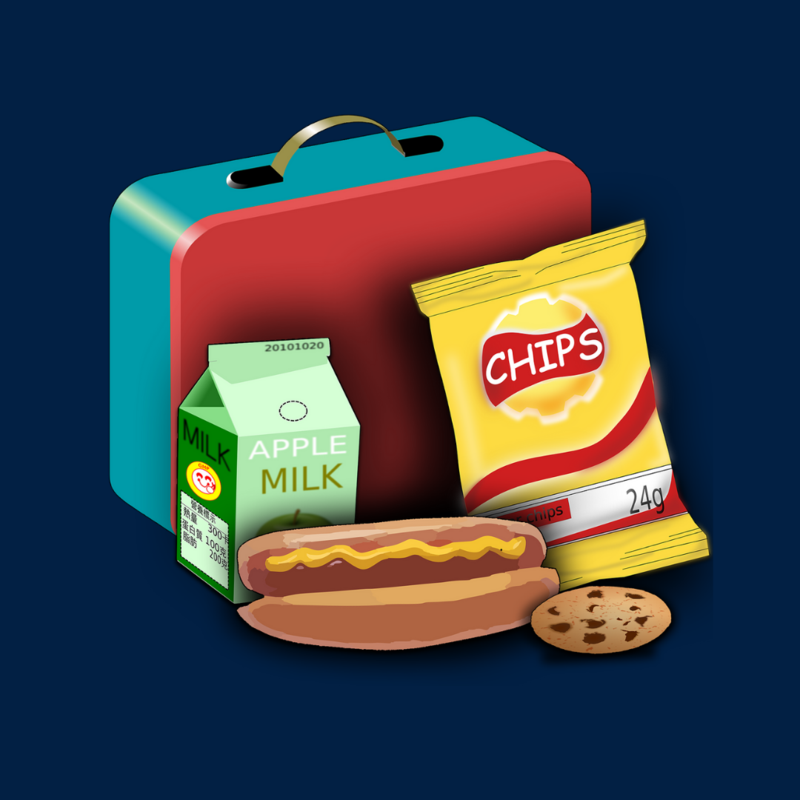 the image is clip art of a blue and red square lunchbox with several food items in front of it: a milk carton, chips, a hot dog and cookie