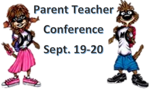 Milo and Miley Meerkat announcing Parent Teacher Conference on September 19-20