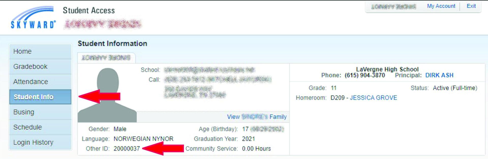 Student Number screenshot