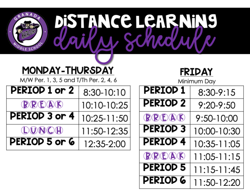 Distance Learning Weekly Schedule