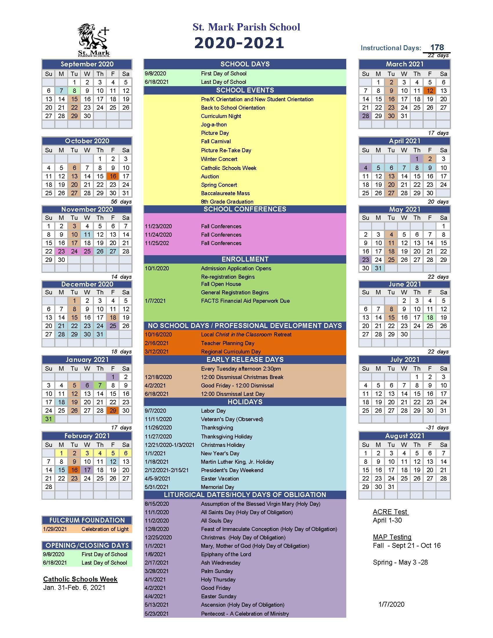 School Calendar 2020   2021 – School Calendar 2020   2021 – St