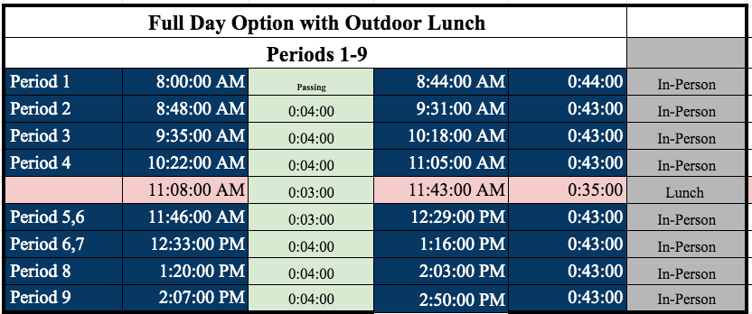 MMS Full Day Bell Schedule effective 5/3/2021