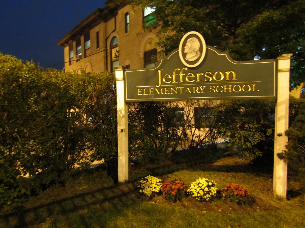 Jefferson School post infront of the school