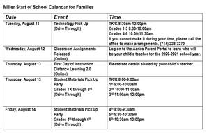Calendar of Events Week of 8/10