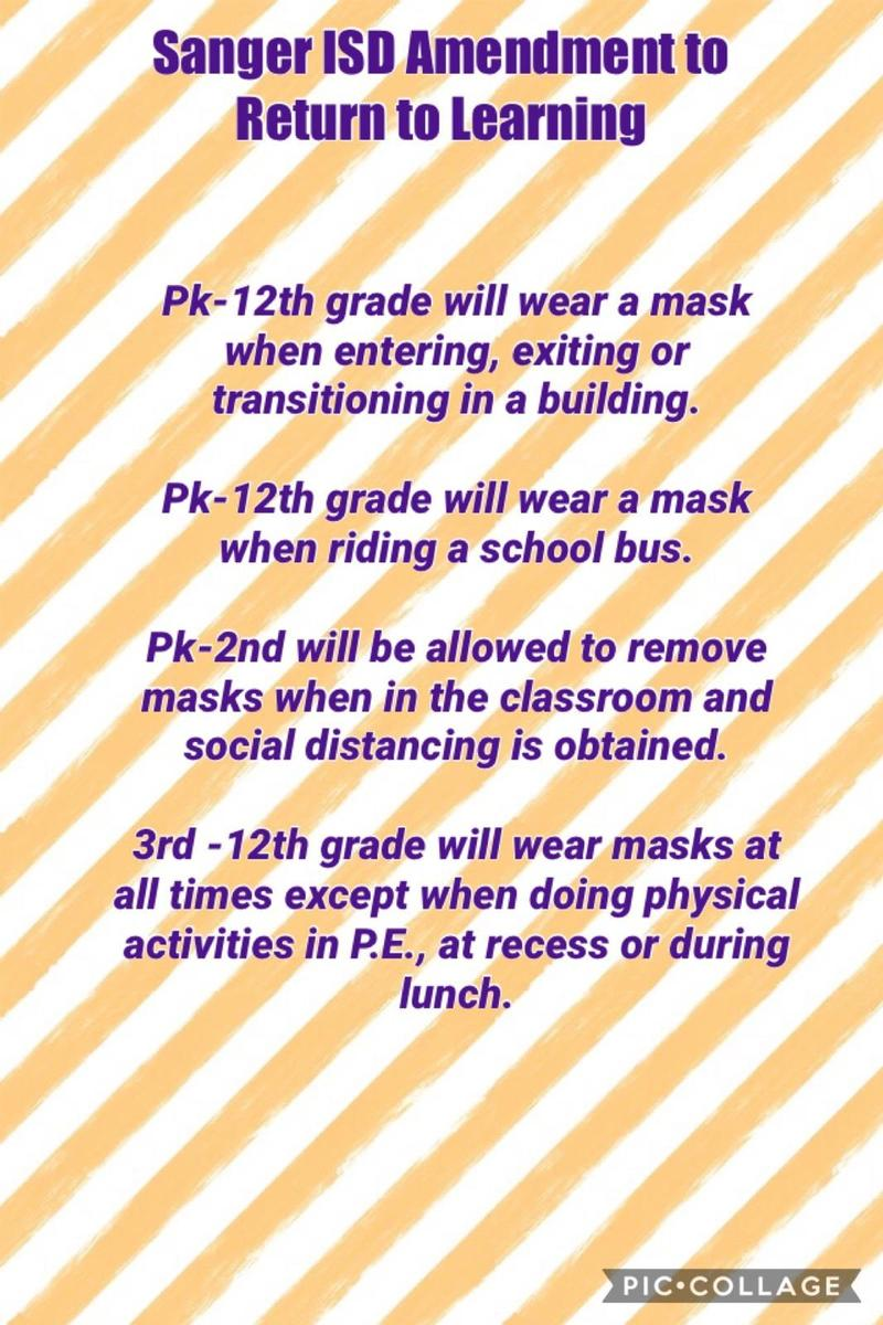 Sanger ISD Return To Learning Mask Requirements Featured Photo