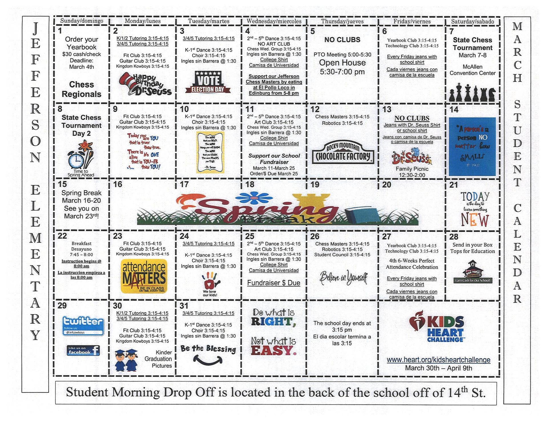 March Student Calendar