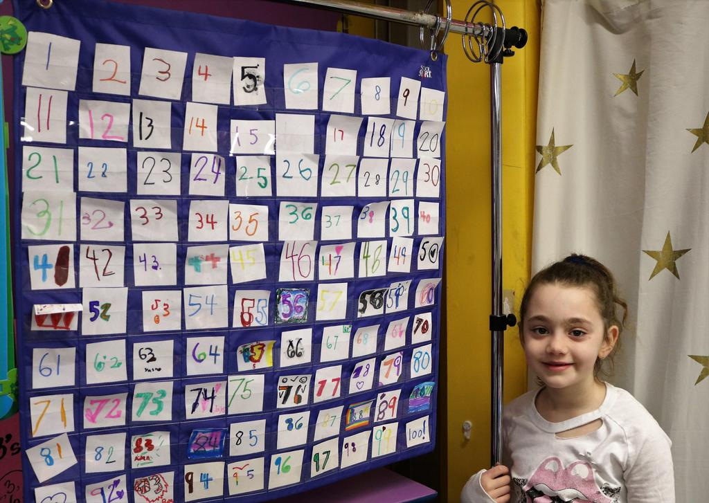 Photo of Tamaques 1st grader standing next to chart noting the first 100 days of school.