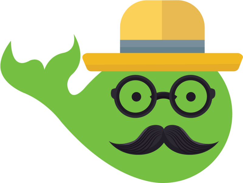 MobyMax Green whale with mustache and glasses logo