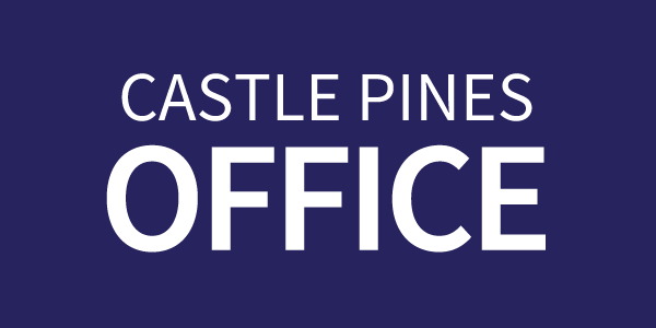 Castle Pines Front Office text on a dark blue rectangle button
