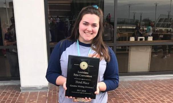 Special Recognition for Addie L. for placing 3rd in the Creative Writing Division I Competition