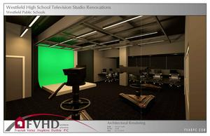 Photo of architectural renderings for new TV studio at Westfield High School